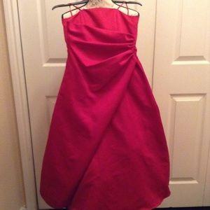 David Bridal spaghetti straps red satin gown EUC